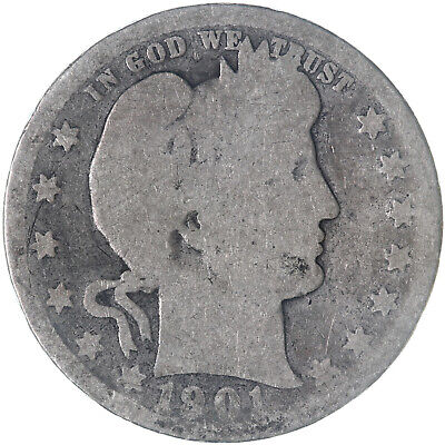 1901 Barber Quarter 90% Silver About Good AG