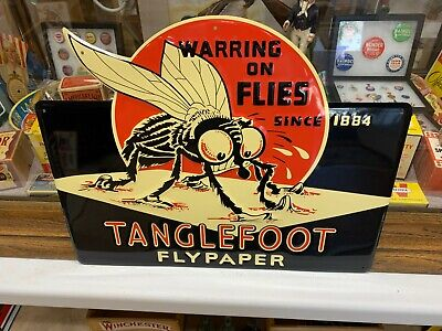 """TANGLEFOOT FLYPAPAPER"" EMBOSSED METAL ADVERTISING SIGN (17.5""x 14"") MINT COND"