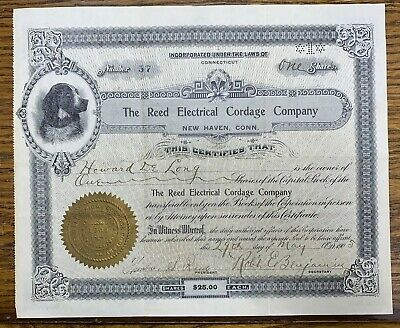1905 The Reed Electrical Cordage Company New Haven Connecticut Stock Certifi
