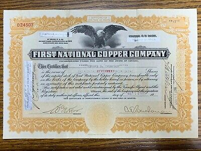 1925 First National Copper Company Stock Certificate Boston