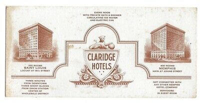 1920s Claridge Hotels Advertising Card-St Louis MO-Memphis TN-Servidors