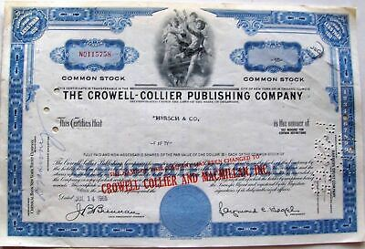 Stock certificate Crowell Collier Publishing Comp. Less Than 100 Shares