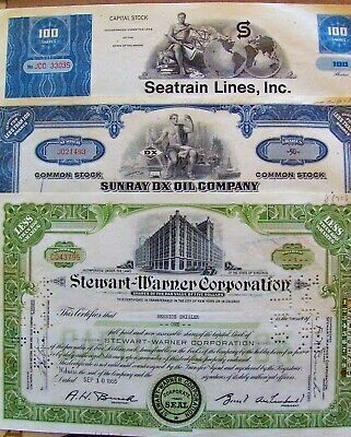 Lot of 10 different US stock certificates (B81)