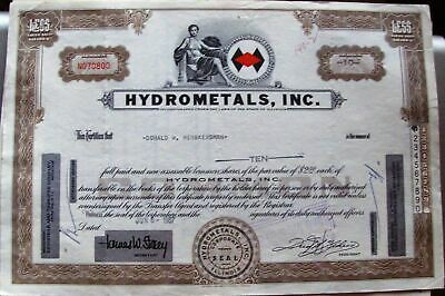 Stock certificate Hydrometals, Inc. Less Than 100 Shares State of Illinois