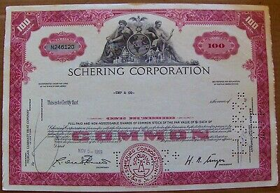 Stock certificate Schering Corporation. Payee Emp & Co 1969 State of New Jersey