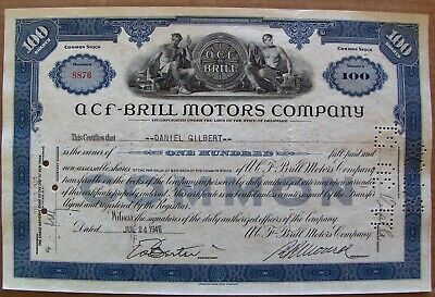 Stock Certificate ACF-Brill Motors Company. 1940s 100 shares State of Delaware