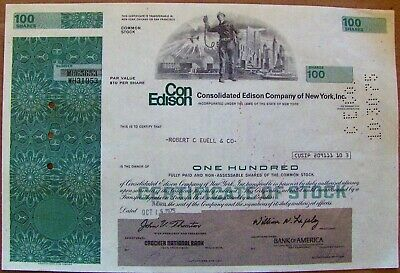 Stock certificate Consolidated Edison with World Trade Center, 1970s
