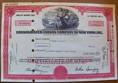 Stock certificate Consolidated Edison 6% Convertible dated 1970s