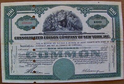 Consolidated Edison Stock Certificate dated 1930s-1960s
