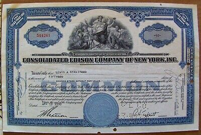 Consolidated Edison Stock Certificate dated 1950s-1960s Less Than 100 Shares