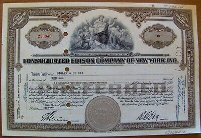 Consolidated Edison Stock Certificate dated 1960s Less Than 100 Shares