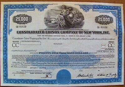 Stock certificate Consolidated Edison $25,000 bond 1970s