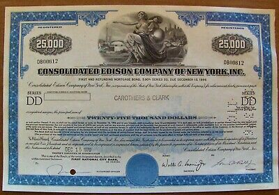 Stock certificate Consolidated Edison $25,000 bond Payee Carothers & Clark