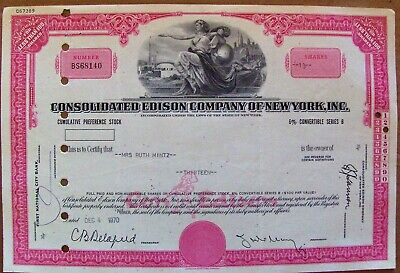 Consolidated Edison Cumulative Preference Stock Certificate 1970