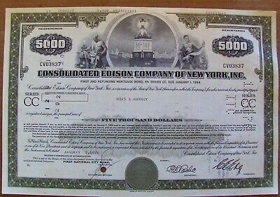 Stock certificate Consolidated Edison $5,000 bond Payee Hirs & Harney 1976