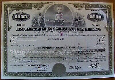 Stock certificate Consolidated Edison $5,000 bond dated 1970s