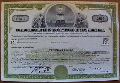 Consolidated Edison $10,000 bond Payee Pearl & Co. 1970