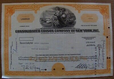 Consolidated Edison Common Stock Certificate 1965-1966