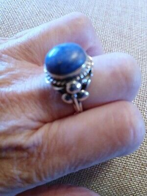 Size 7 1//2 Size 7.5 Square BLUE LAPIS LAZULI Ring 925 STERLING SILVER #40