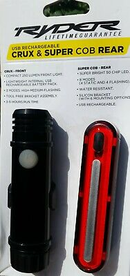 Ryder crux and super cob rear Bright  front and rear USB Rechargeable