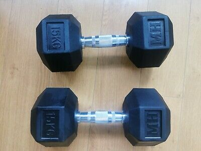 Men/'s Health Anti-Roll Hex-Shaped Fixed Rubber Dumbbell Set 2 x 15kg