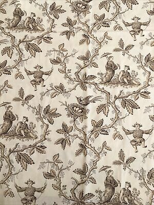 Superb Antique French Toile Floral Shabby Chic panel c1900s 40//90cms