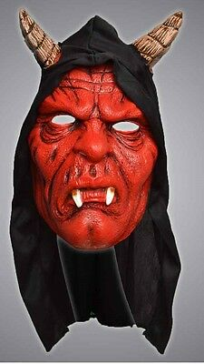 Unisex Latex Halloween Costume Red Hooded Scary Devil Mask With