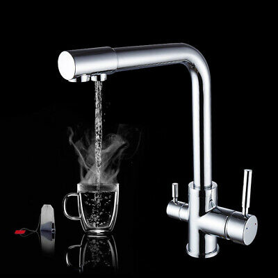 Kitchen Sink Drinking Pure Water Faucet Brass Double Handle Drinkable Mixer Tap