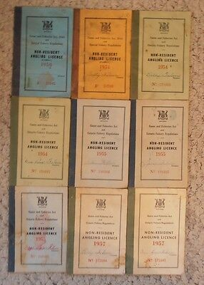 Ontario Non-Resident Angling License, Fishing License, Nine Total, 1950~1957