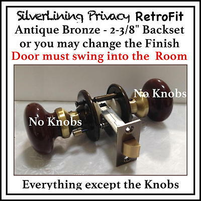 ANTIQUE BRONZE Privacy retrofit to install your  Antique Knobs in Modern Door