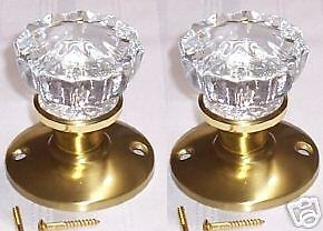 Ice Clear Real Glass/Antiq.Brass Dummy Knobs-Easy Mount