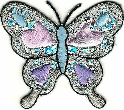 """2"""" Shinny Silver Butterfly Embroidery Patch"""