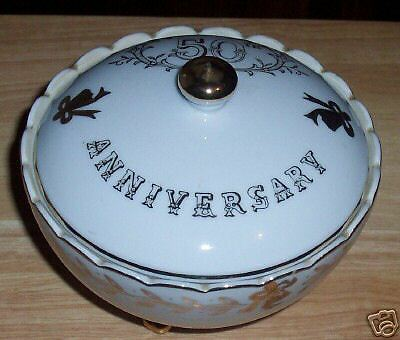 LEFTON CHINA NO. 997 50TH ANNIVERSARY FOOTED CANDY DISH