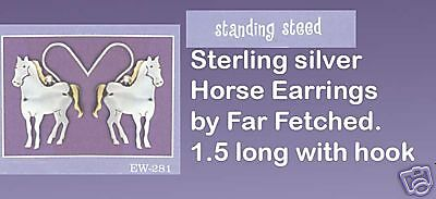 STANDING STEED Horse Sterling Silver Dangle  Earrings by Far Fetched