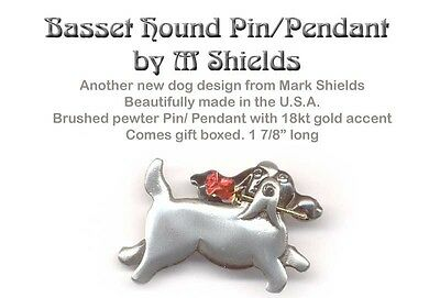 BASSET HOUND Dog Pin Pendant Handcrafted By M Shields w/ GOLD Rose