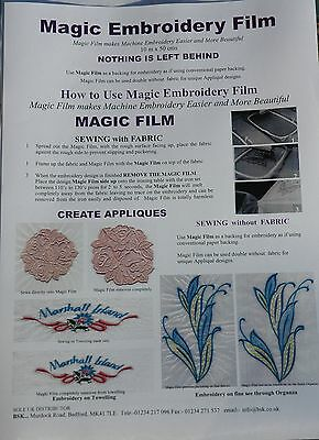 Magic Embroidery Film / backing for embroidery, Appliques  10mtr x 50 cms  A816