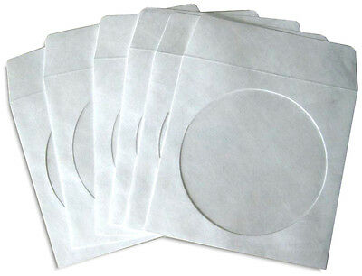 100-Pak White *TYVEK* CD/DVD Sleeves with Window and Flap