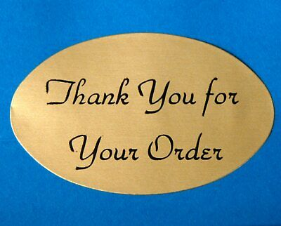 "OVAL 1.25X2"" GOLD THANK YOU FOR YOUR ORDER STICKERS LABELS Lot/100 FAST Shipping"