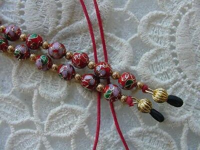 #E-40) Red pink Cloisonné Eyeglass leash holder chain necklace lanyard beads