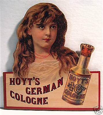 Hoyts German Cologne Diecut Rustic Retro Perfume Sign