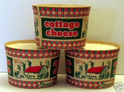 2- Cottage Cheese Plaid Dairy Cup/ Farm Scene/Old Stock