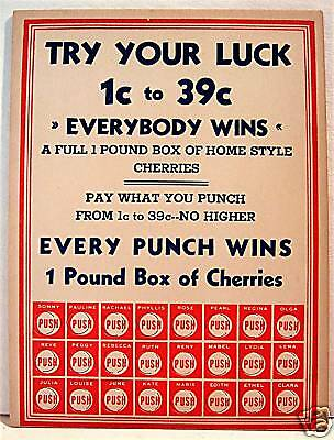 1950 Try Your Luck Punch Board Acme Novelty / Old Stock