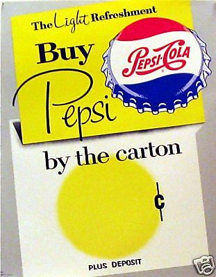 1960's Pepsi Cola Store Display Soda Pop Sign Old Stock