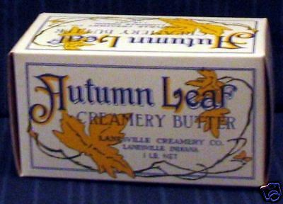 1940's  Autumn Leaf Waxed Creamery Butter Box Old Stock