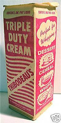 Thibodeau's Dairy Waxed Milk Cream Carton Saco Maine