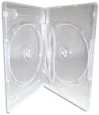 QUAD-DISC =CLEAR= 14mm 4-Disc DVD Boxes with One Swinging Tray 10-Pak