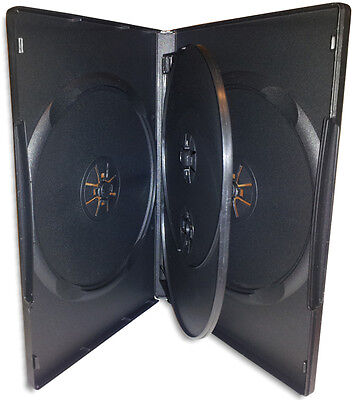 QUAD-DISC =BLACK= 14mm DVD Boxes with Swinging Trays 10-Pak