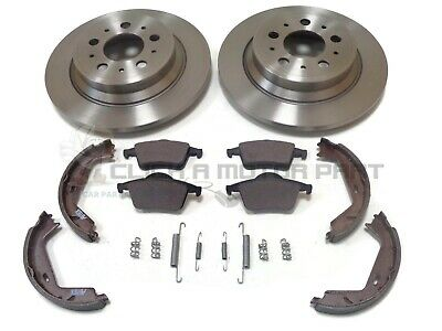 Volvo S60 S80 Rear 2 Brake Discs And Pads Handbrake Shoes & Fitting Kit New Set