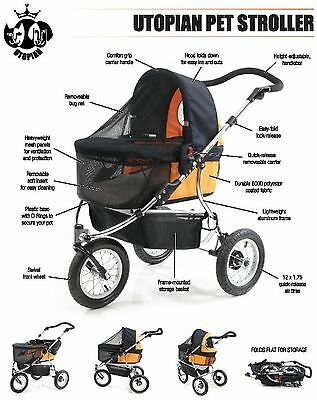 Utopian Pet Three Wheel Pet Stroller (Color  Orange)