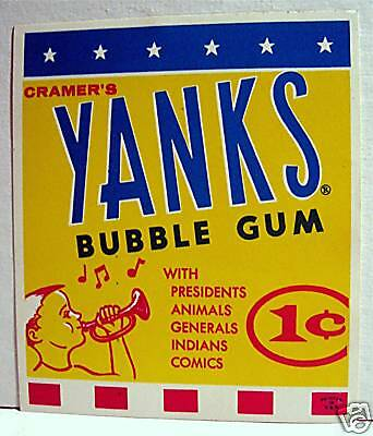 Yanks Bubble Gum Gumball Vending Machine Card Old Stock